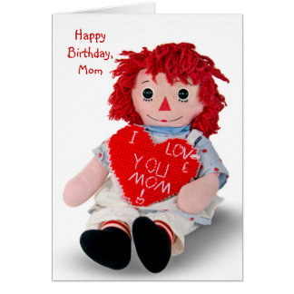 Old Rag Doll Birthday Card