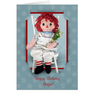 Old Rag Doll with Daisies Card