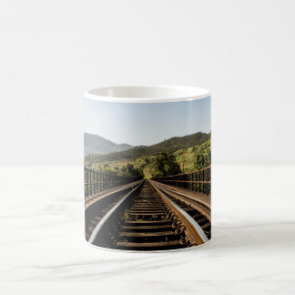 Old railroad railway bridge nature scenery coffee mug