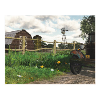 Old Red Barn and Rusty Truck Postcard