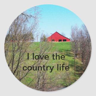 Old Red Barn Classic Round Sticker