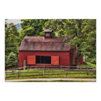 Old Red Barn From Long Ago Poster