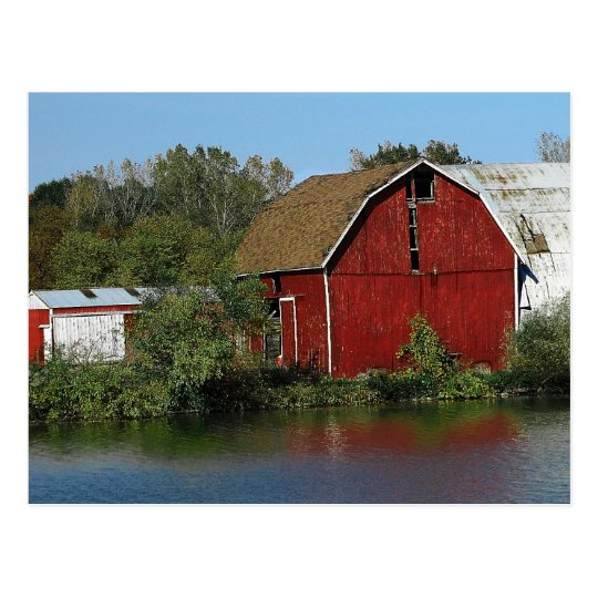 Old Red Barn Postcard