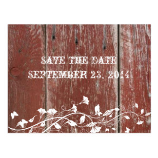 Old Red Barn Wood Save the Date Postcard