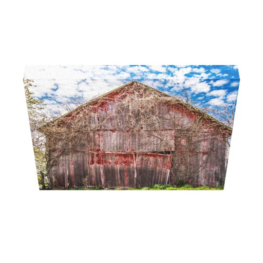 Old Red Barn Wrapped Canvas Print