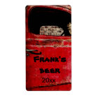 Old red rusted truck beer bottle label