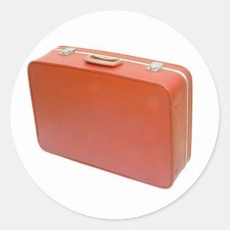 Old red suitcase round sticker
