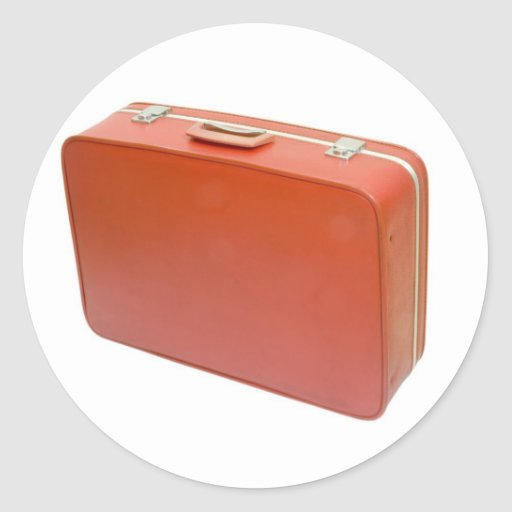Old red suitcase round stickers