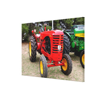 Old red tractor canvas print