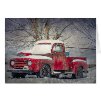 Old Red Truck Blank Notecard