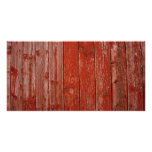 Old red wood custom photo card