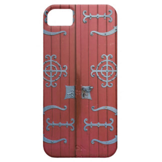 Old Red  Wood Doors With Gray Iron Supports Case For The iPhone 5