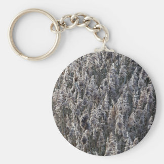 Old reed grass basic round button keychain