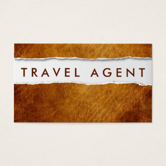 Old Ripped Paper Travel Agent Business Card