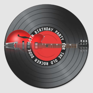 Old Rocker Dude Guitar Record 50th Birthday Party Classic Round Sticker