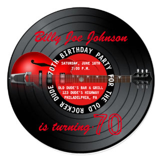 """Old Rocker Dude Guitar Record 70th Birthday Party 5.25"""" Square Invitation Card"""