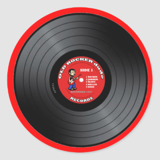 Old Rocker Dude Vinyl Record Sticker