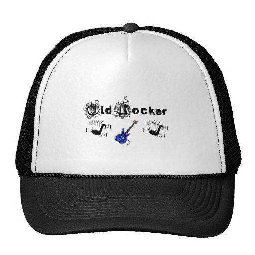 Old Rocker w music & blue guitar Hat