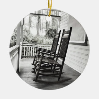 Old Rocking Chairs on Porch Ceramic Ornament