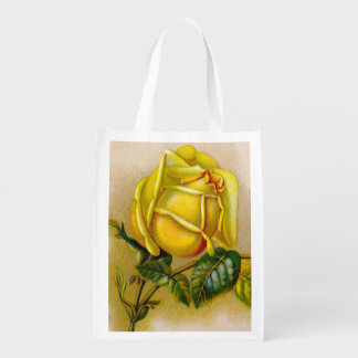 Old Rose Yellow Vintage Reusable Grocery Bag