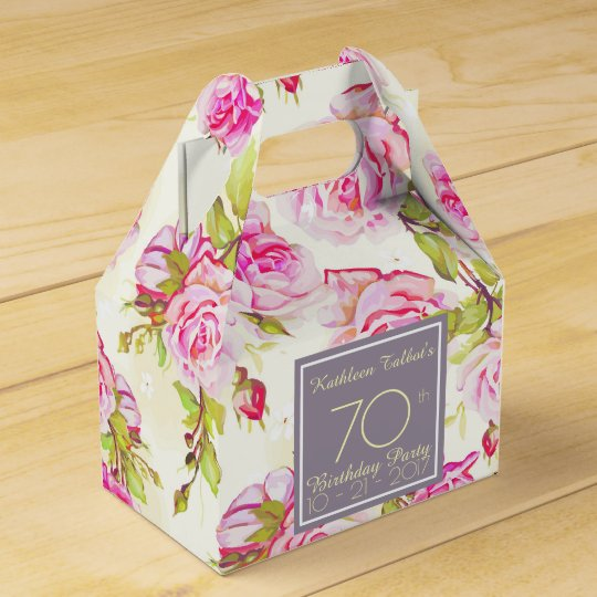 Old Roses 70th Birthday Thank You Favour Box