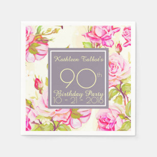 Old Roses 90th Birthday Party Paper Napkin