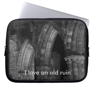 Old ruin Whitby abbey Gothic arches black & white Laptop Computer Sleeve