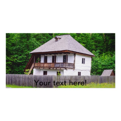 Old rural house photo card template