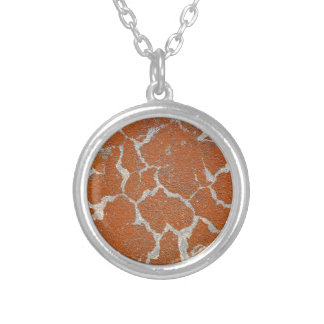 Old russet color on concrete silver plated necklace