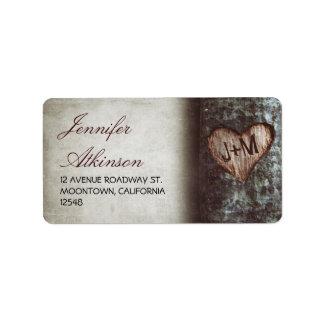 old rustic tree wedding address labels