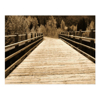 Old Rustic Wooden Bridge Postcard