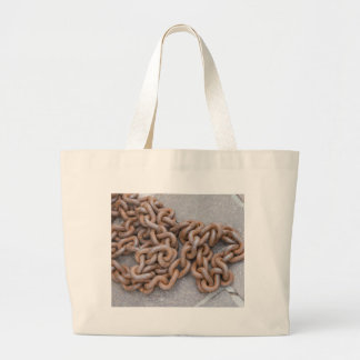 old rusty chain large tote bag