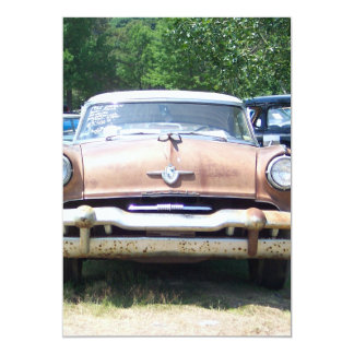 old rusty classic car front at a car show card