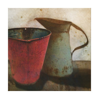 old Rusty Milk Pitcher and Pail Canvas Print