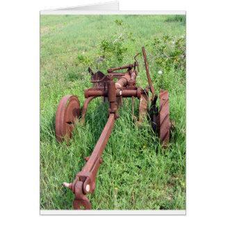 Old rusty plow card