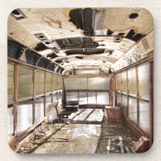 Old Rusty School Bus In Motion Drink Coasters