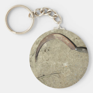 Old rusty sickle basic round button keychain