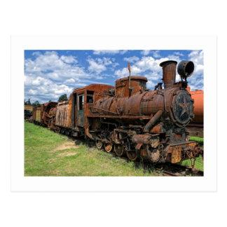 Old rusty steam locomotive postcard