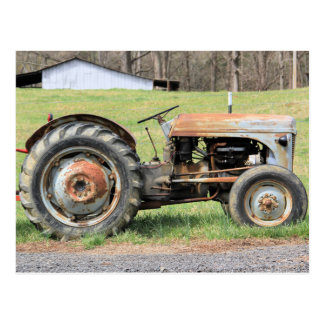 Old Rusty Tractor By A Fence In The Country Postcard
