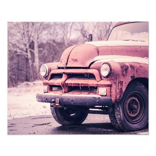 Old rusty truck photo print