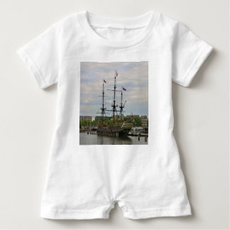 Old sailing ship, Amsterdam, Holland Baby Romper