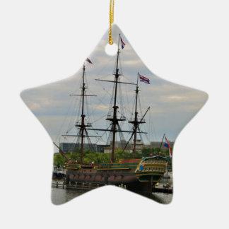 Old sailing ship, Amsterdam, Holland Ceramic Ornament