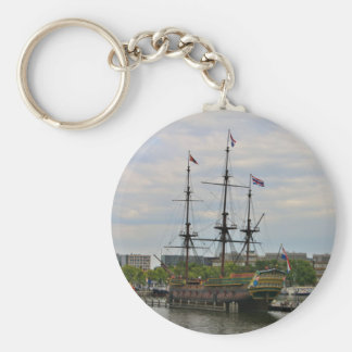 Old sailing ship, Amsterdam, Holland Keychain