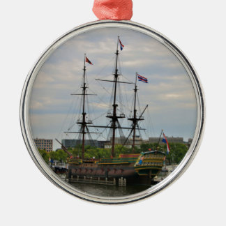 Old sailing ship, Amsterdam, Holland Metal Ornament