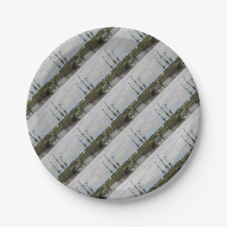 Old sailing ship, Amsterdam, Holland Paper Plate