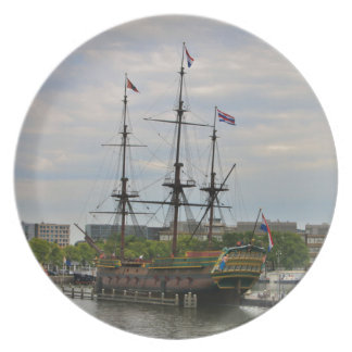 Old sailing ship, Amsterdam, Holland Plate