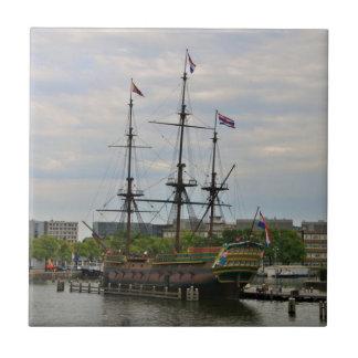 Old sailing ship, Amsterdam, Holland Tile