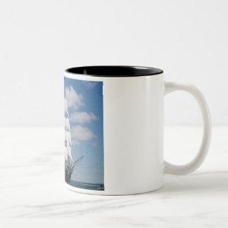 Old Sailing Ship Two-Tone Coffee Mug