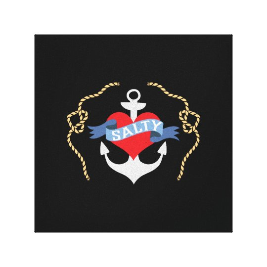 Old Salt Heart and Anchor Nautical Canvas Print