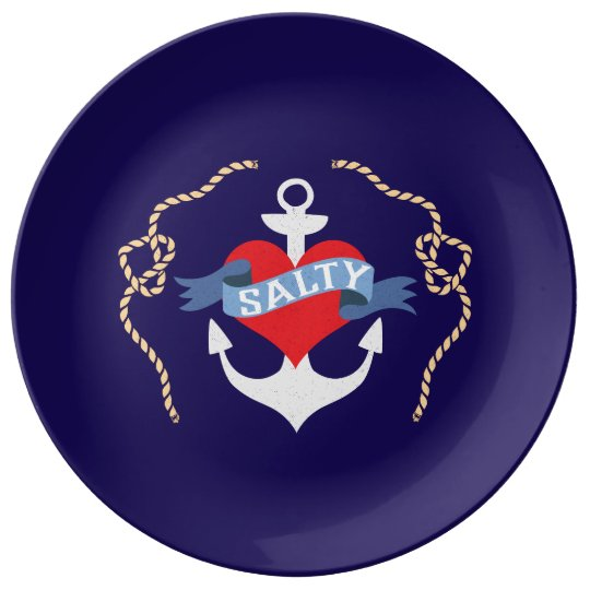 Old Salt Heart and Anchor Nautical Plate